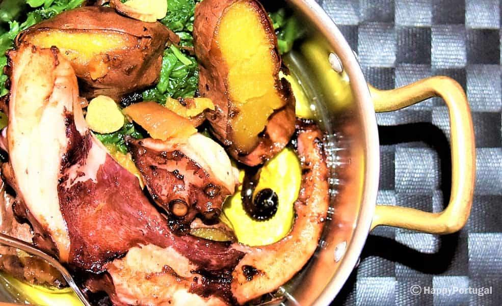 Polvo grelhado com batata doce